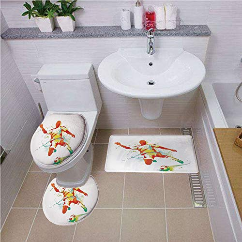 Bath mat set Round-Shaped Toilet Mat Area Rug Toilet Lid Covers 3PCS,Sports Decor,Soccer Player Kicks the Ball Competitions Paint Splashes Speed Boots Art, ,Bath mat set Round-Shaped Toilet Mat Area R for $<!--$44.00-->