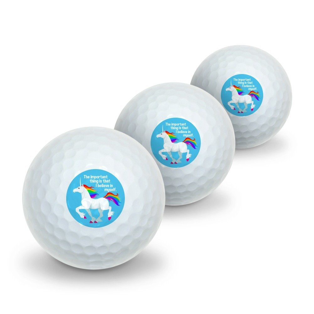 Unicorn The Important Thing is That I Believe in Myself Novelty Golf Balls 3 Pack