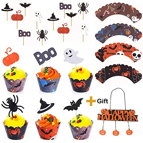 YINGAR 48 Pieces Spider Ring Cupcake Toppers and Halloween Appetizer Picks for Halloween Party Supplies Halloween Party Cupcake Decorations Halloween Food -