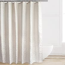 Eforcurtain Extra Long Size 72 by 84 Inches Paisley Design Ivory Polyester Shower Curtain Heavy Weight, Easy Care Shower Curtain Liner Waterproof Anti Mildew & Blackout, Safe for Families Use