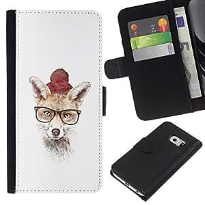 Protector de cuero de la PU de la cubierta del estilo de la carpeta del tirón BY RAYDREAMMM - Samsung Galaxy S6 EDGE - Hipster Fox lindo