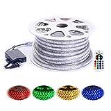 Shine Decor 110V 7x15mm Led RGB Strip Light, 14 Colors Rope Lights, Waterproof 5050 60Leds/M, 150ft