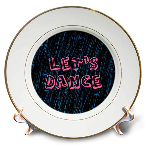 3dRose Alexis Design - Weather - Blue rain water jets and splashes. Pink text Let Us Dance on black - 8 inch Porcelain Plate (cp_287186_1) by 3dRose (Image #1)