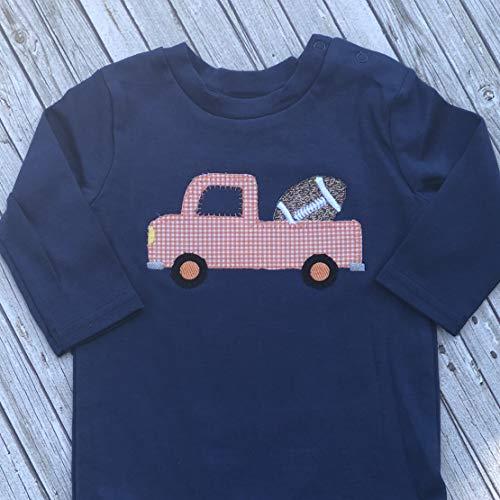 (Football Truck Applique Bodysuit - Football Shirt - Football One Piece - Boys Truck Shirt)