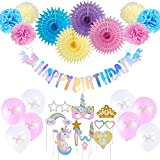 Unicorn Party Supplies, Rainbow Happy Birthday Banner, Unicorn Photo Booth Props, Tissue Paper Fans Pom Poms, Pink White Latex Balloons, Easy Joy