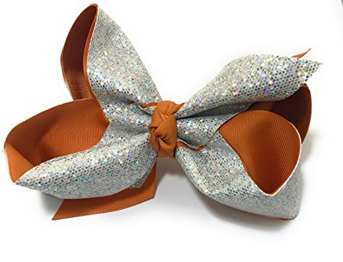 Chicky Chicky Bling Bling Girls Large Sparkle Cheer and Dance Hair Bows silver and burnt orange ()