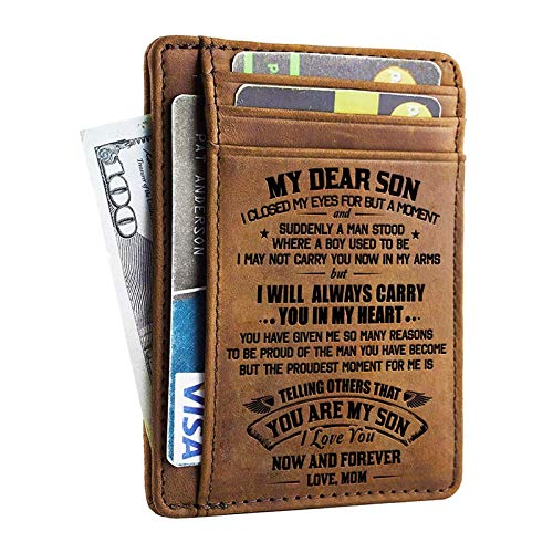Minimalist Wallets Gift for Son from Mom - Engraved Leather Front Pocket Wallet - Custom Wallet RFID Blocking (A - Mom to Son) (Best Gift Cards To Give For Birthdays)
