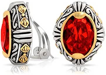 Bling Jewelry Brass Crystal Oval Bali Style Clip On Earrings