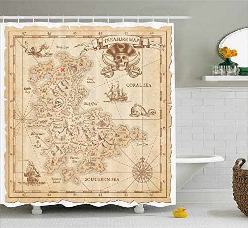 Ambesonne Ocean Island Decor Shower Curtain Set, Old Ancient Antique Treasure Map with Details Retro Color Adventure Sailing Pirate Print, Bathroom Accessories, 75 Inches Long, Cream (Treasure Curtain Shower Map)