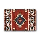 WECE Geometric Pattern Non-Slip Rubber Entrance Door Mat Doormats 23.6 x 15.7 Inch