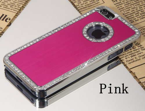 Brilliant Style Iphone 5/5S Deluxe Hot Pink brushed aluminum diamond case bling cover for iphone 5/5S
