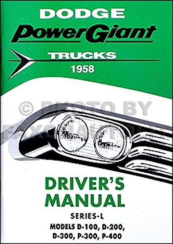 - 1958 Dodge Pickup Truck Owner's Manual Reprint