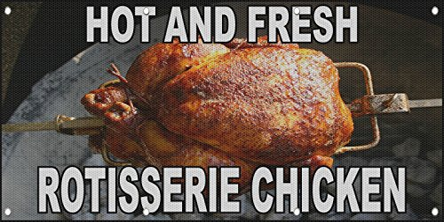 Hot And Fresh Rotisserie Chicken MESH Windproof Fence Ban...