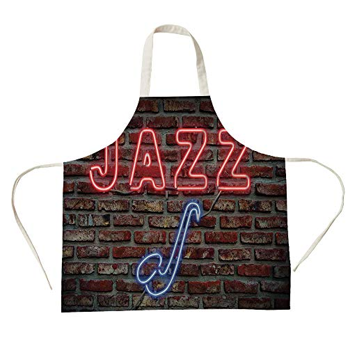 - 3D Printed Cotton Linen Big Pocket Apron,Music,Image of Alluring Neon All Jazz Sign with Saxophone Instrument on Brick Wall Print Decorative,Red Blue,for Cooking Baking Gardening