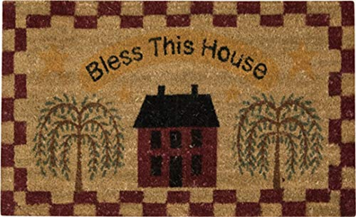 IHF Primitive Bless This House Saltbox Willow Tree Checkered - Natural Woven Eco-Friendly Coir Door Mat Rug 18