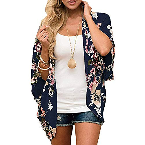 LOVINO Womens Floral Kimono Cardigan Half Sleeve Chiffon Beach Cover Ups Loose Blouse Tops Kimonos for Women Navy Blue Small