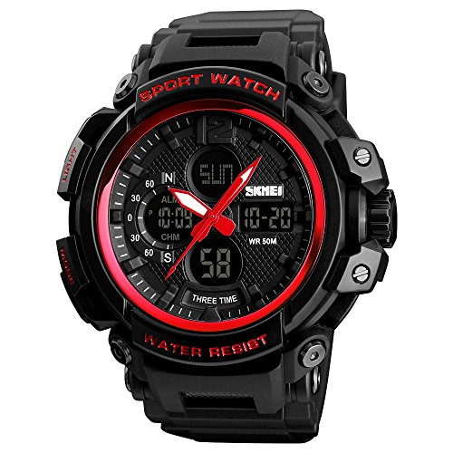 SKMEI Sports Watch Mens Quartz Digital Watch Big Face LED Back Light Chronograph Waterproof Alarm Wrist Watch for Boys