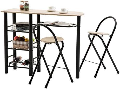Vendeur pro Table de Bar Table Haute de Bar Mange-Debout Scandinave avec 2 /étag/ères de Rangement Pied en Forme K 112 107cm 45