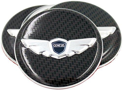 3D Carbon Optic Genesis Wing Wheel Cap Emblem Overlay Set 4pc for Genesis Coupe & Sedan (Loden)