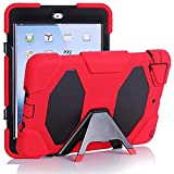 iPad Mini 1,2,3 Case,Y&M(TM) for Kids Hot Protective Case Cover ShockProof DirtProof RainProof SnowProof DropProof Soft Silicone Portable Ultra Slim Light Weight Defender Case For iPad Mini 1 2 3 (Red/Black)
