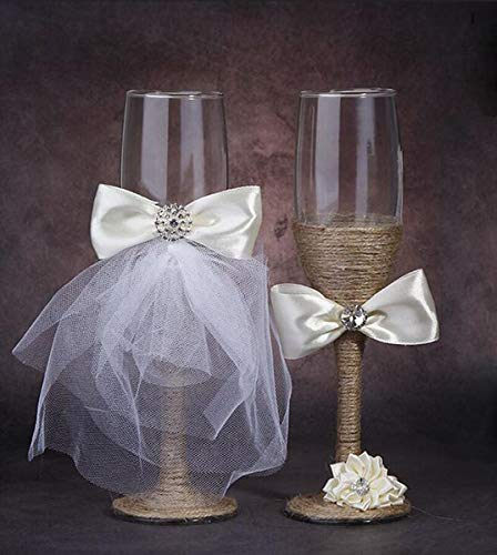7 Oz Lace Pearl Hemp Rope Decoration Wine Glasses Handmade Bride and Groom Champagne Flutes for Toasting,Wedding Gifts,Wedding Favors,Couples Gifts,Wedding - Flutes Heart Toasting Pearl