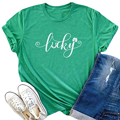 (Women Lucky Letter Print St Patrick's Day T Shirts Saint Pattys Short Sleeves Tops tee (M,)