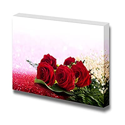 Canvas Prints Wall Art - Romantic Roses in Glittering Sand | Modern Wall Decor/Home Decoration Stretched Gallery Canvas Wrap Giclee Print. Ready to Hang - 24