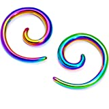 Body Candy 2Pc 10G Rainbow Anodized Titanium 316L Steel Micro Spiral Taper Set Tapered Ear Gauges Stretching Kit 2.4mm