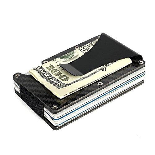 (HONB Carbon Fiber RFID Blocking Money Clip Wallet Credit Card Holder (Aluminum-Carbon Fiber-Stainless Steel, Black))