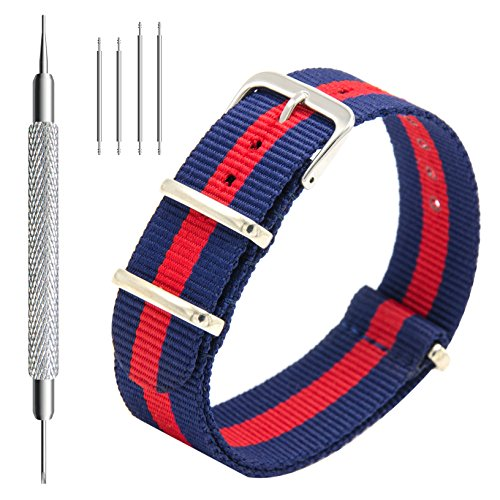 Nato Strap 4 Packs - 20mm 22mm Premium Ballistic Nylon Watch Bands Zulu Style with Stainless Steel Buckle (Black+Navy Red+Linen Navy+Navy White, 20mm) Photo #8