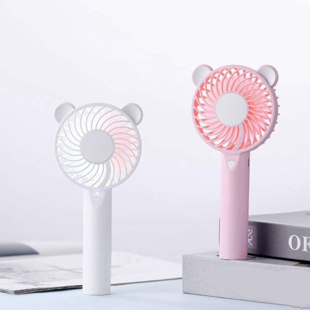 Orso Ventilatore d\'aria Simpatico cartone animato Ventilatori ricaricabili USB portatili Ventola di raffreddamento ad aria portatile Luce a LED Mini desktop-Rosa Bianca