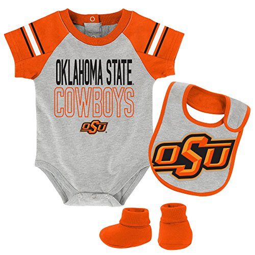 NCAA Oklahoma State Cowboys Newborn & Infant Blitz Bodysuit, Bib & Booties, Heather Grey, 6-9 Months by NCAA by Outerstuff