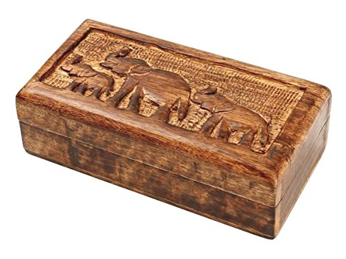 Handcrafted Country Style Wooden Keepsake Box Jewelry Trinket Multipurpose Storage Organizer with Hand Carved Elephant Design by storeindya (Image #4)