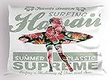 Lunarable Hawaiian Pillow Sham, Tropical Hawaii Hibiscus Surfing Girl Silhouette Surfboard Retro Themed Artprint, Decorative Standard Queen Size Printed Pillowcase, 30 X 20 Inches, Coral Green