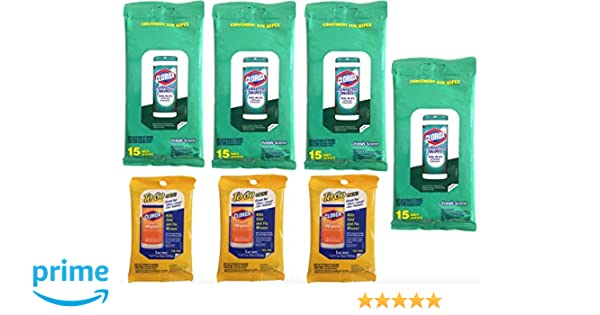 Amazon.com: Clorox Disinfecting Wipes (7 Packs) Travel Size, 4 Fresh Scent Packages & 3 Citrus Scent To Go Packages (87 Wipes Total) Value Pack Bundle: Home ...