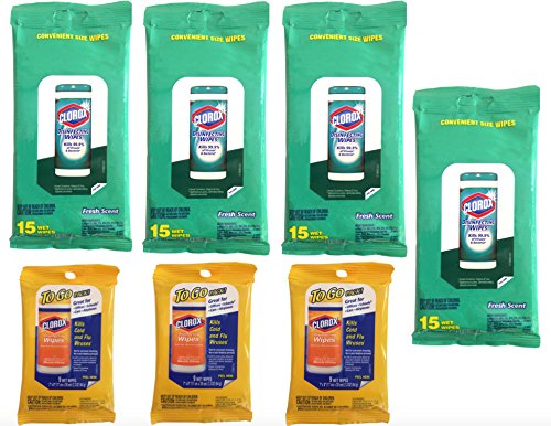 Travel Package (Clorox Disinfecting Wipes (7 Packs) Travel Size, 4 Fresh Scent Packages & 3 Citrus Scent To Go Packages (87 Wipes Total) Value Pack Bundle)