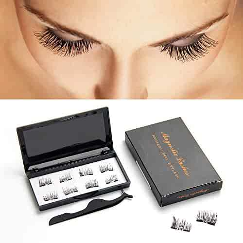 5900d740a50 Magnetic Eyelashes 4 Pairs 3D Falses Eyelashes Handmade lashes Set for  Natural Look Light weight &