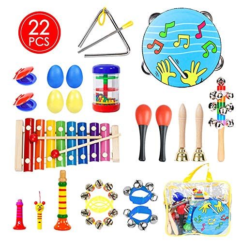 UNGLINGA Toddler Musical Instruments Toys Set for Kids - Percussion Instruments Tambourine Xylophone for Boys Girls Preschool Education, Early Learning Music Toy with Storage Bag