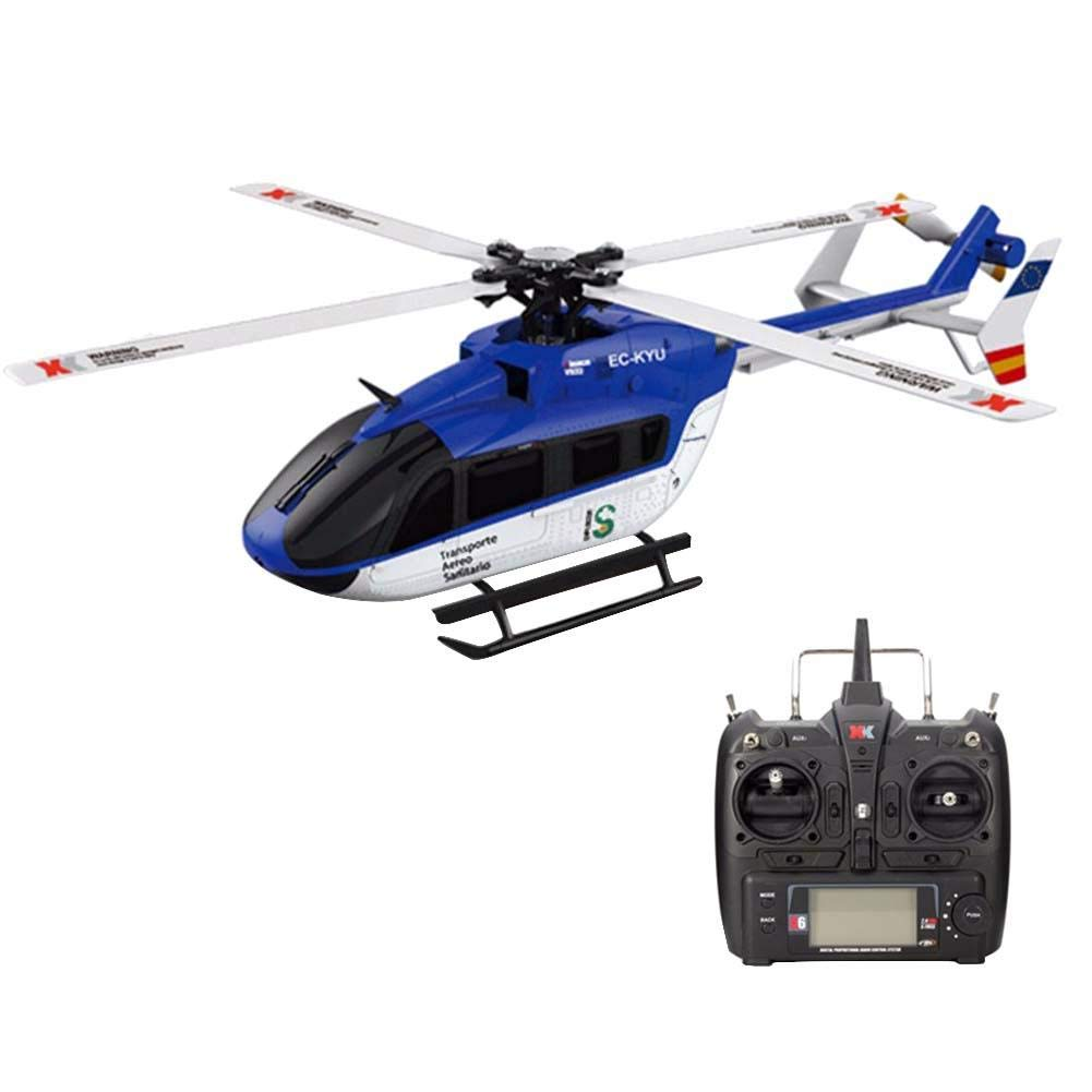 Luckycyc Children Remote Control Helicopter Toy, 2.4G XK K124 6CH Brushless EC145 3D6G System RC Helicopter RTF