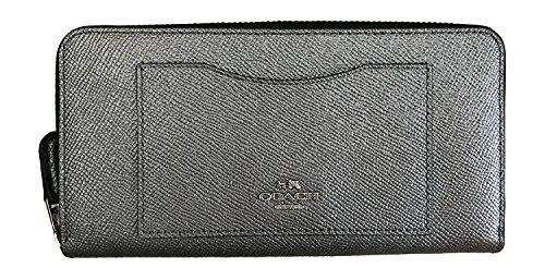Coach Crossgrain Leather Accordion Zip Around Womens Wallet F54007 Silver -