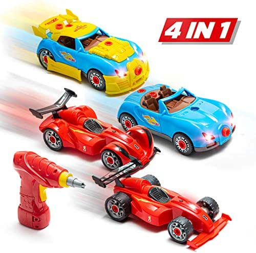 Prextex 53 Piece Build Your Own Racer Car Set STEM take Apart Toys for Boys with Real Working Drill and Screws 53 Piece Take-A-Part Toy for Boys and Girls with Lights and Sounds