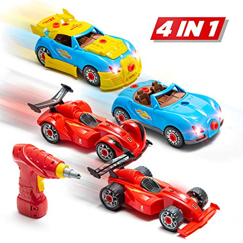Prextex 4 in 1 Build Your Own Racer Car Set STEM take Apart Toy for Boys with Real Working Drill and Screws 53 Piece Take-A-Part Toy for Boys and Girls with Lights and Sounds (Together Snap Model Kits)