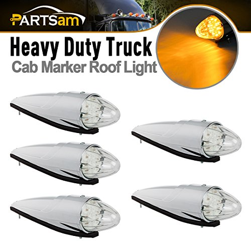 Partsam 5pc Super Bright Amber Yellow 17 LED Clear Lens Torpedo Chrome Cab Marker Top Clearance Roof Running Lights Assembly For Kenworth Peterbilt Freightliner International Mack Paccar Semi Truck (Truck Dimensions Semi)