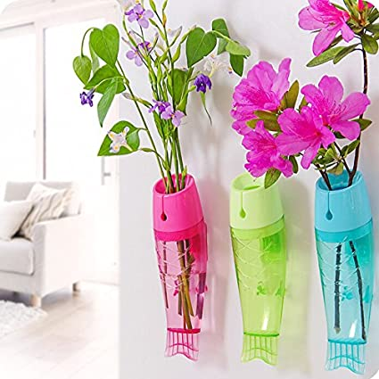 home cubeâ fish shaped plastic wall hanging flower vase mounted