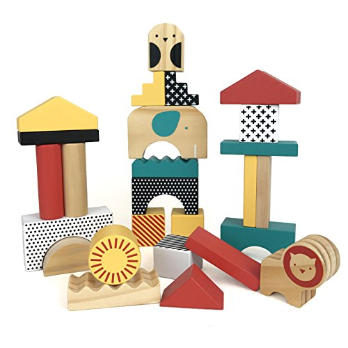 Petit Collage Animal Town Wooden Blocks - Baby Animals Block Puzzle