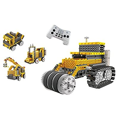 Build Your Own Robot Toys for Kids – Ingenious Machines Remote Control Robot Building Kit (Crane, Forklift, Bulldozer & Truck) Robot Toys for Boys Aged 6 7 8 9+: Toys & Games