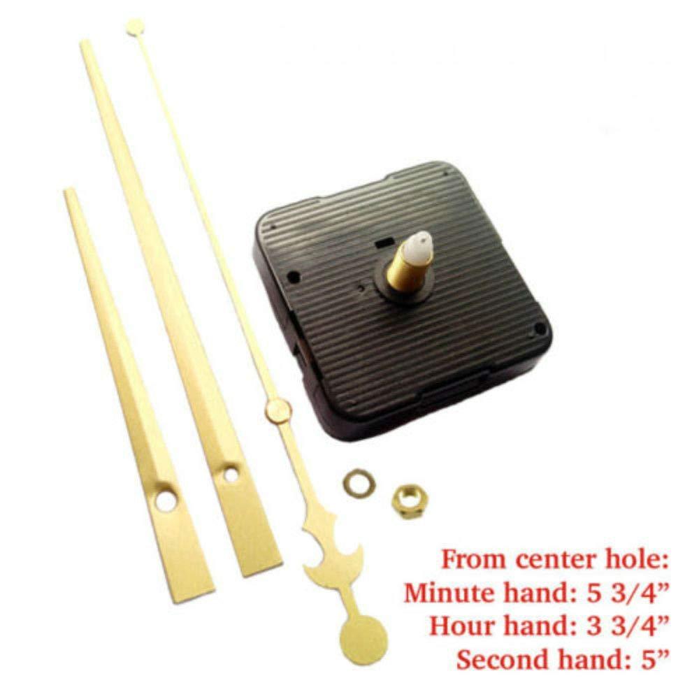(#02) Quartz Clock kit 1/2'' Thread Long Shaft high Torque Motor & Gold 6'' Hand