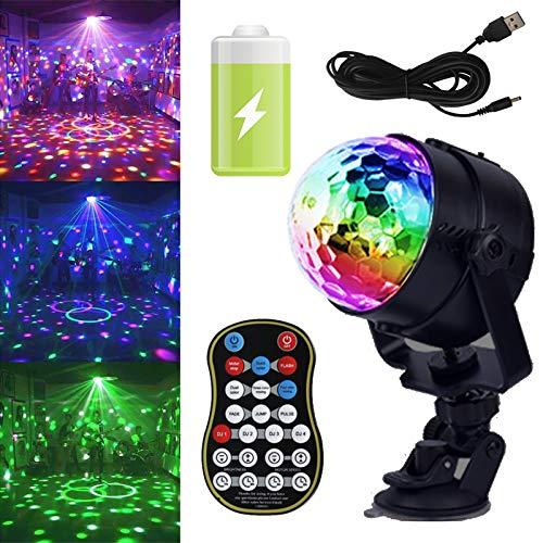 GCBTECH Discolamp met Oplaadbare Batterij, 15 Kleuren RGB LED Disco Licht, Kleurverandering en Muziekgestuurd Discobol…