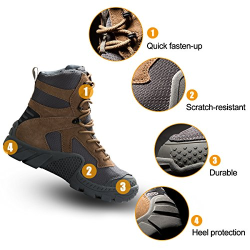 Free soldier Men Military High-top Shoes Tactical Hiking Boots Lace Up Work Combat All Terrain Wear-resistant Boots 3 Colors Wolf-Brown cL4mT