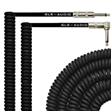 GLS Audio 30 Foot Curly Guitar Instrument Cable - Right Angle 1/4 Inch TS to Straight 1/4 Inch TS 30 FT Cord 30 Feet Phono 30' 6.3mm - SINGLE